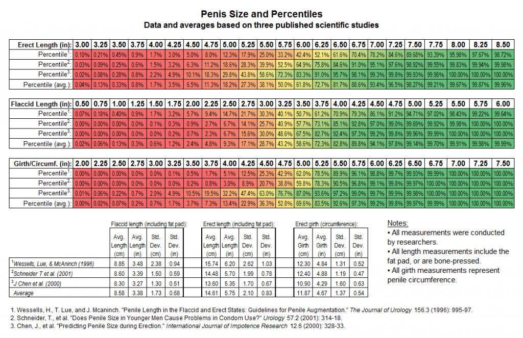 penis size chart