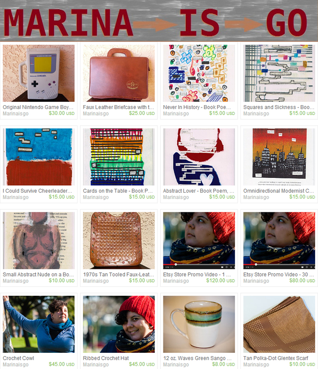 Marina is go on etsy, hand-crafted and found goods for sale